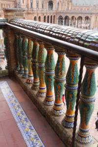 Everywhere you look there's wonderful ceramic detail. These rails grace one of the balconies that looks onto the plaza.