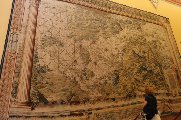 This Renaissance map tapestry shows Spain, but the image is upside down so if you laid it on the floor your perspective would be correct.