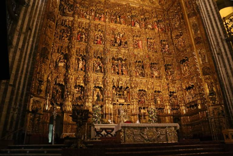 The main altar has a literal ton of gold on it - 2,000 pounds of the stuff from the New World