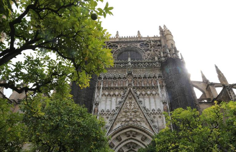 The exterior of the Cathedral from the Orange Court in the rear of the building