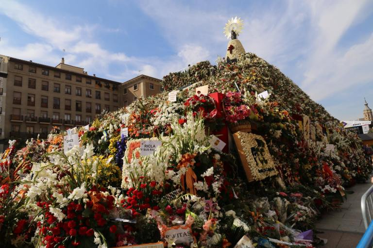 The Offering of Flowers is a key part of the festival, resulting in this pyramid in the middle of the square.