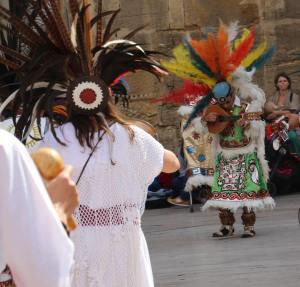 Festival dancers - they were all decked out in feathers as native peoples of the Americas.