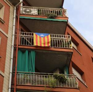 Catalonian independence flag - these were hanging off balconies, often next to the Catalonian flag (four red strips on a golden field) all over Barcelona