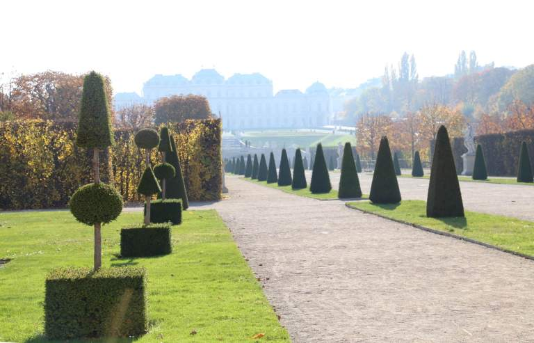 The Upper Belvedere palace through the gardens