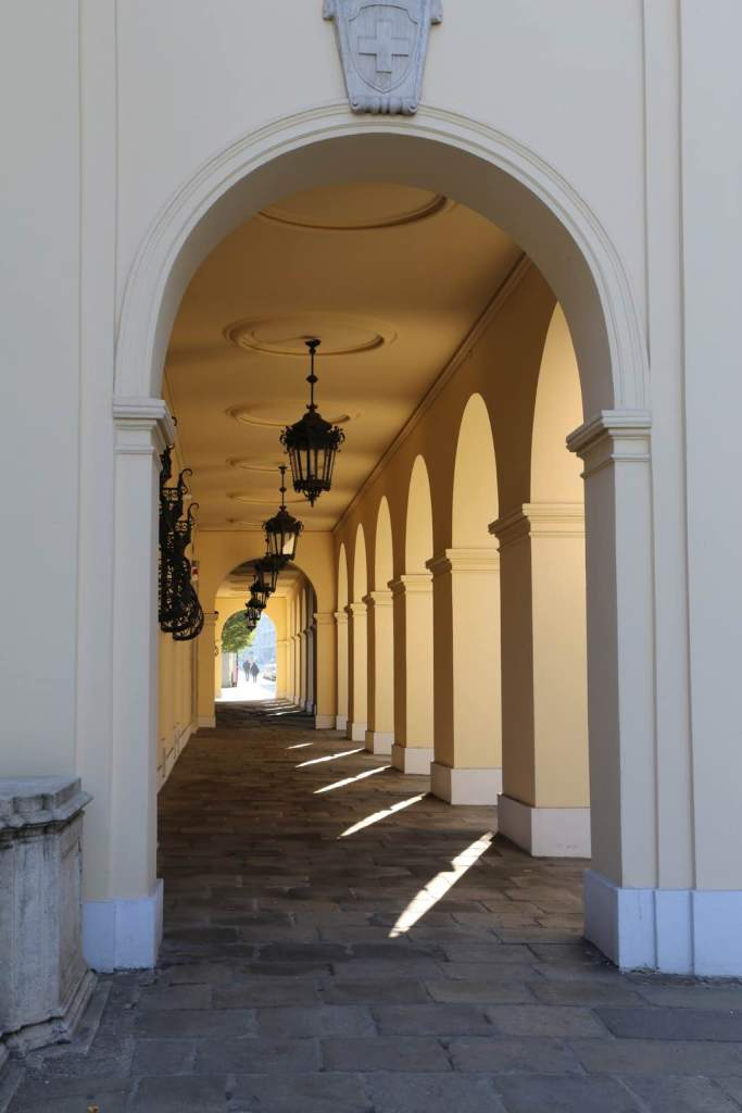 This colonnade is just outside the Austrian Military Museum just below the Lower Belvedere
