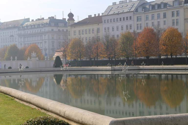 Reflecting Pool outside the Upper Belvedere. The setup for Christmas Markets has already begun -note the stars in the pool.