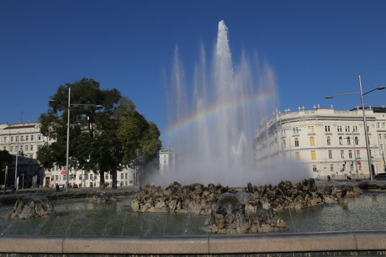Rainbow in the fountain at the Soviet monument.