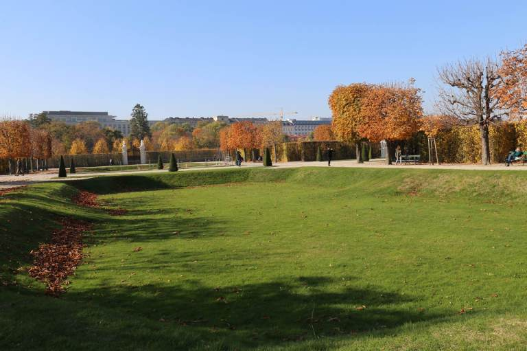 The Schloss Belvedere gardens are ordered, like this section of carefully manicured lawn.