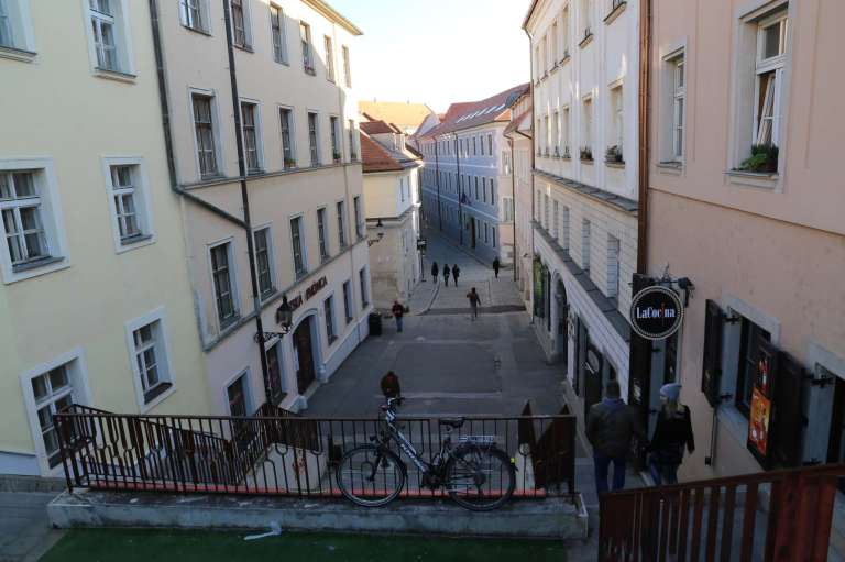 One of many gorgeous streets in Bratislava. And stairs, of course.