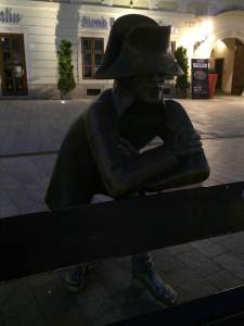 Napoleon soldier, waiting for his lady love in the main town square