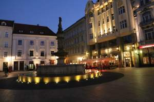 Roland Fountain in the Main Square in Bratislava Old Town