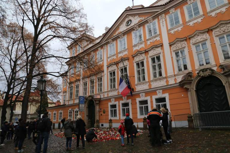 French Embassy in Prague where people have left tokens of solidarity and sympathy, taken 15 Nov 2015