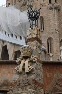 Monument outside the Sagrada Familia commemorating its beginning in 1882