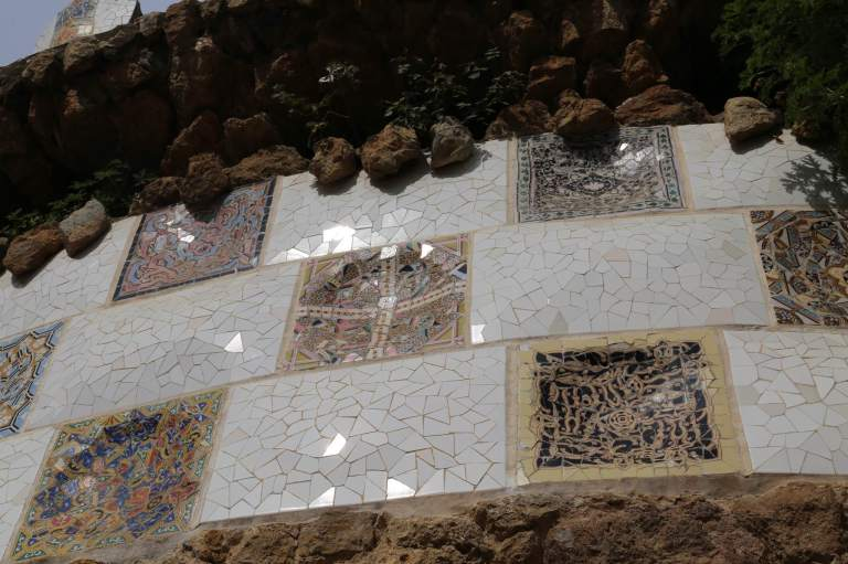 The various mosaics catch the light in a way a single sheet of ceramic wouldn't.