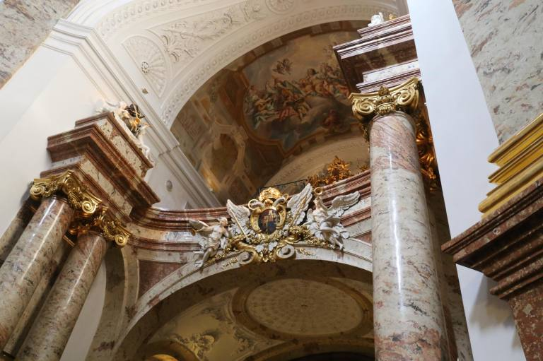 Each of the church arches inside was decorated with marble columns and a marble cornice