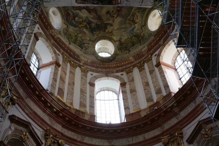 View of the dome taken while safely planted on the ground floor of the church