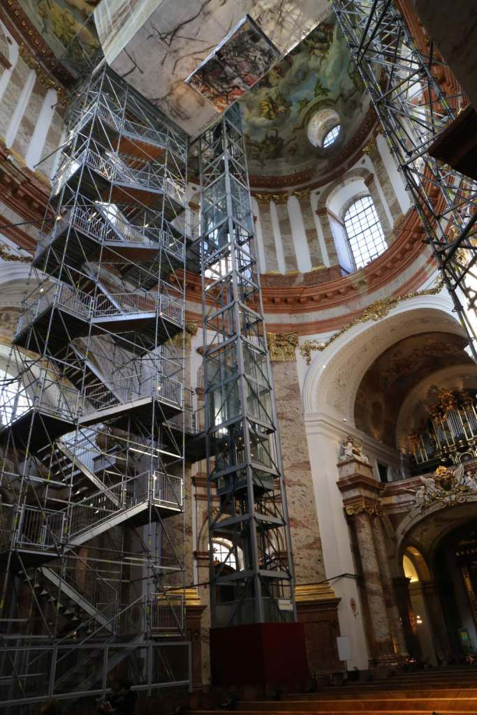 The temporary elevator and staircase for those brave enough to get up close to the dome.