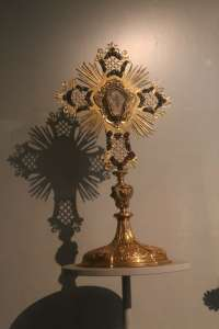 The majority of the artifacts in the museum were church items used during Mass over the church's history, like this cross.