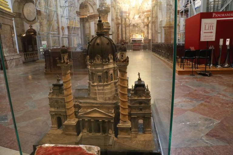 Scale model at the back of the church