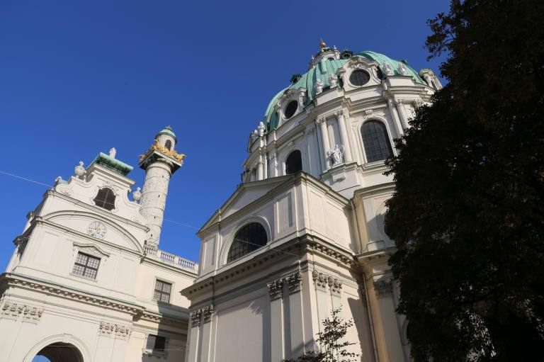 The exterior of Karlskirche from the side