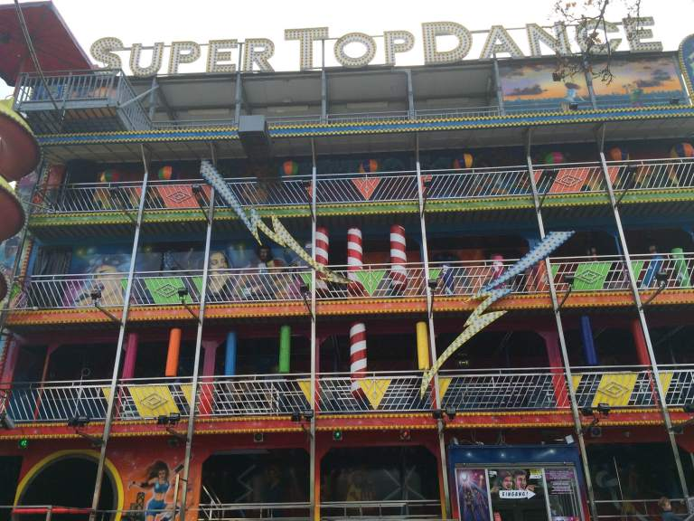 A dance-themed fun house that seemed kind of like it was encouraging pole dancing.