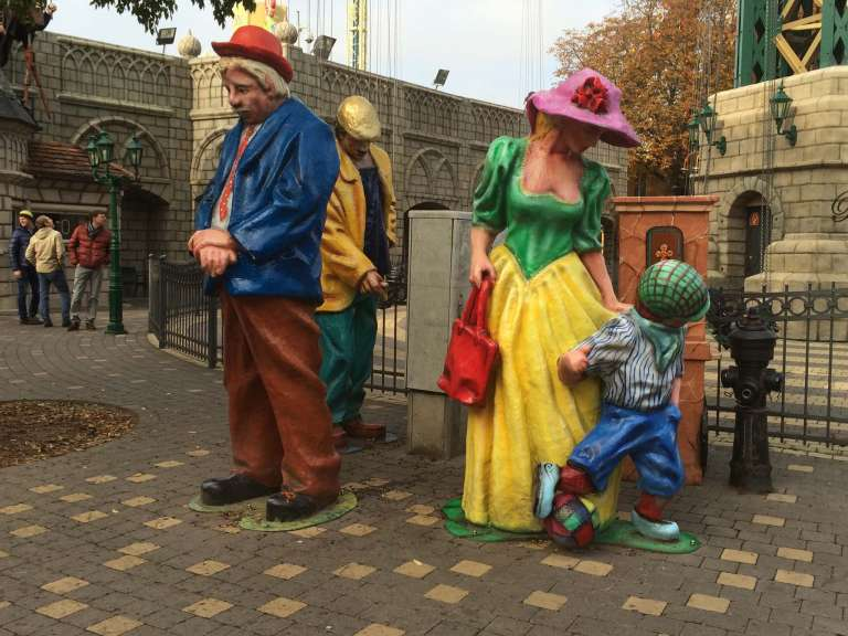 Statues near the kids' section of the park