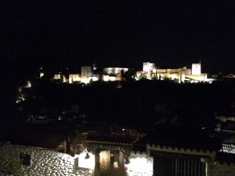 The Alhambra, lit up at night