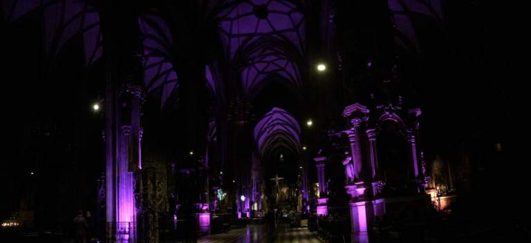 The cathedral is lit at night in various ways - I've seen both this purple effect and a less modern, traditional lighting scheme on different nights