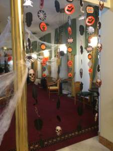 The lounge decked out for the Halloween party