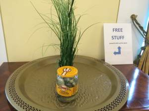 "Give-away spot in the lounge. The sign reads, ""Free Stuff (except the dish and the plant). This day someone was giving away gherkins. I suspect someone has an apple tree in their room since piles of apples appear each day, only to disappear before sundown."